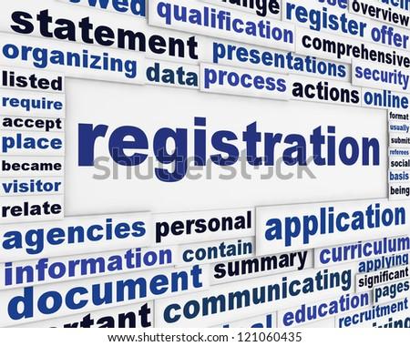 Registration creative message background. Official process poster design