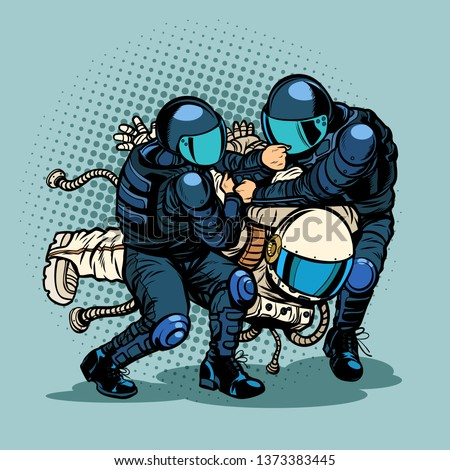 regression and progress concept, police arrested the astronaut. Pop art retro  illustration vintage kitsch drawing