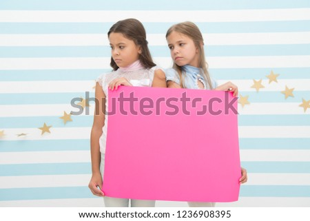 Regret to inform you. Girls hold advertisement poster copy space. Children hold advertising banner. Sad kids with blank paper advertisement. Advertisement concept. Your advertisement in good hands. #1236908395