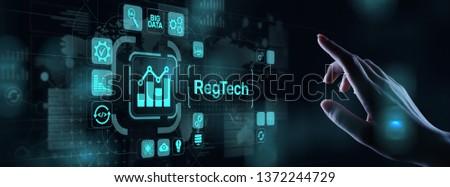 RegTech Regulation Compliance financial control modern internet technology concept on virtual screen. #1372244729