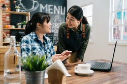 Regular customer concept. Cheerful nice woman cafe bar worker look friend smiling chatting with funny news on social media. female barista in apron standing by loyal visitor freelance in coffee shop