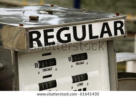 regular gas pump at a station