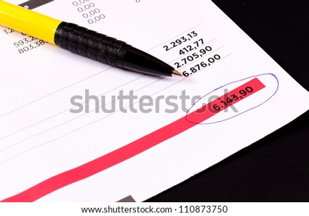 Regular invoice with the pen