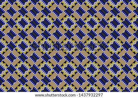 Regularly repeating tiles grids with beige, blue and violet dots, polygons, hexagons, rhombuses, difficult polygonal outline shapes. Stylish geometric seamless pattern. Modern linear ornament.