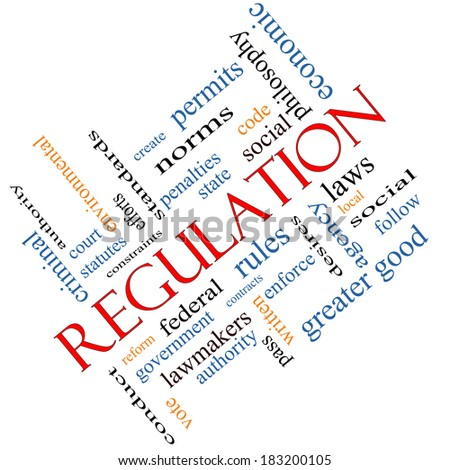 Regulation Word Cloud Concept angled with great terms such as rules, enforce, government and more.