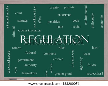 Regulation Word Cloud Concept on a Blackboard with great terms such as rules, enforce, government and more.