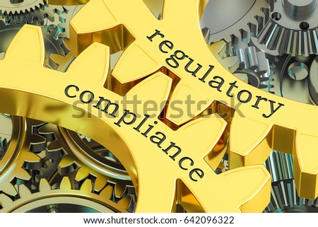 regulatory compliance concept on the gearwheels, 3D rendering Stock photo ©