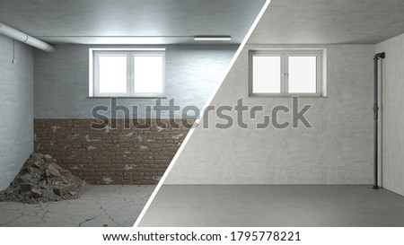 Rehabilitation and renovation of masonry in an old cellar 3D Rendering Foto stock ©