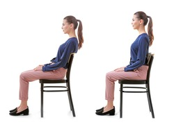 Rehabilitation concept. Collage of woman with poor and good posture sitting on chair against white background