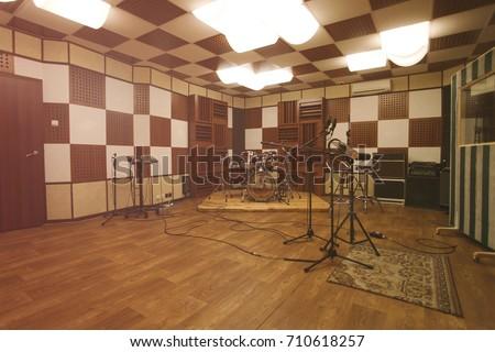 Rehearsal room - interior of recording studio with professional equipment
