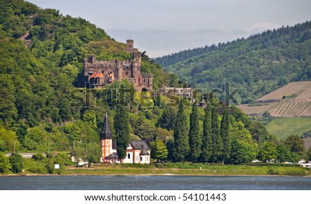 Reichenstein castle in famous rhine valley