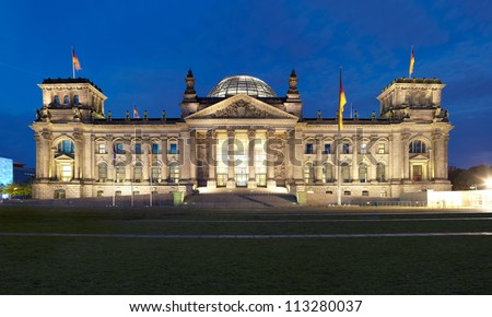 Reichstag, Berlin panoramic view at night