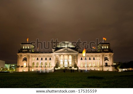 Reichstag building by night, Berlin