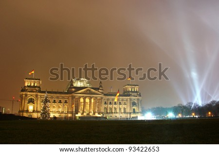 Reichstag building (German parliament) during New Year celebration in Berlin, Germany