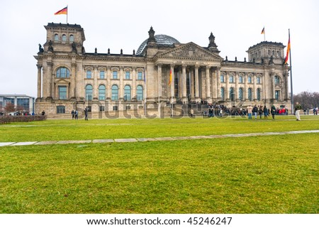 REICHSTAG, in a rainy day, Berlin, Germany.