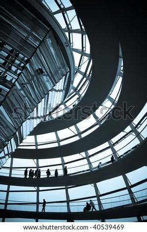 Reichstag - parliament building, inside the glass dome, blue tone picture. Berlin, Germany