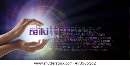 Reiki Vortex Healing Word Cloud - Female hands cupped around the word REIKI with a relevant word cloud on a spiraling bright light vortex background and copy space