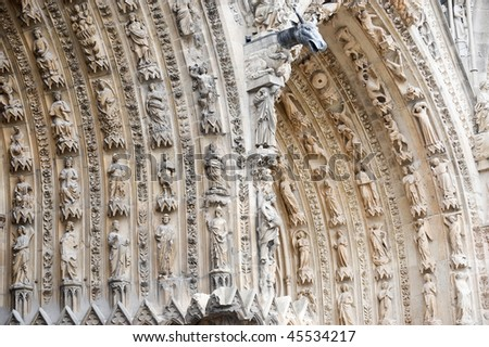 Reims (Marne, Champagne-Ardenne, France) - Exterior of the cathedral in gothic style, facade