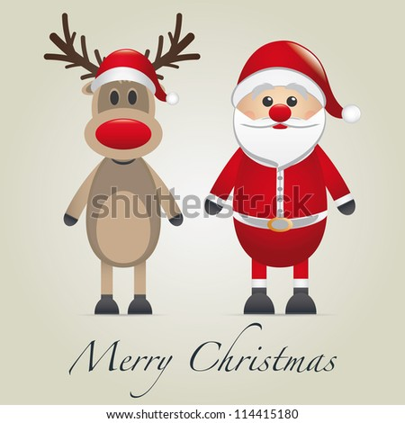reindeer and santa claus merry christmas type