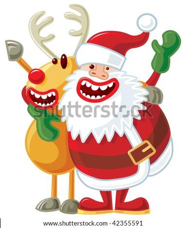 reindeer and Santa singing. JPEG version.