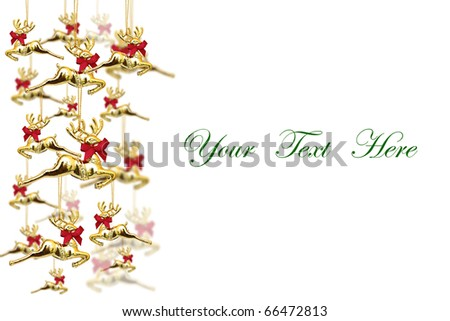Reindeer dolls decoration on white background with space for message