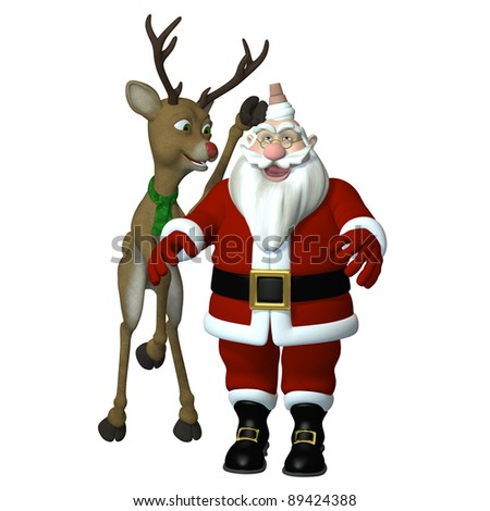 Reindeer Games.  A playful red nosed reindeer pushing a vanilla ice cream on Santa's head. Isolated on a white.