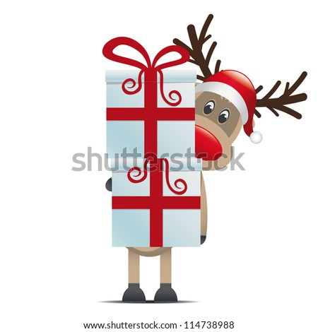 reindeer hold gift boxes with red ribbon