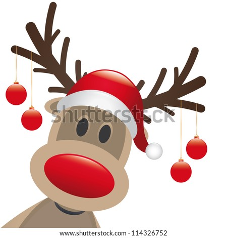 reindeer red nose hang christmas balls - stock photo