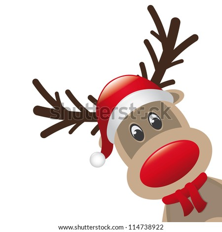 reindeer red nose scarf santa claus hat