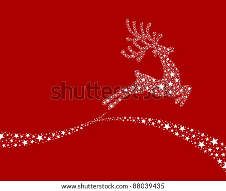 reindeer white from stars flying on background