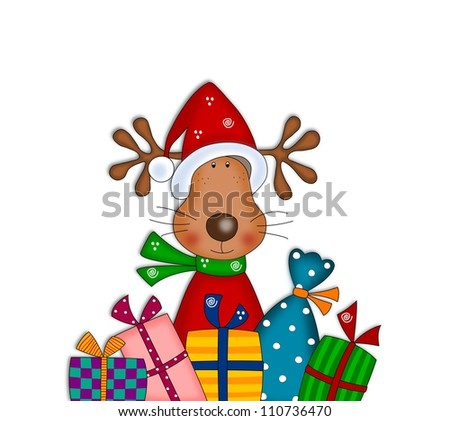 Reindeer with gift wraps. Christmas illustration