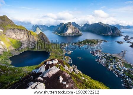 Reine from Reinebringen,view on stunning mountains of Lofoten islands, Norway Foto stock ©