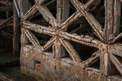 Reinforced concrete have cracked and rusty in steel structure in caused by salt in the sea, Danger area should be recomment by construction engineer