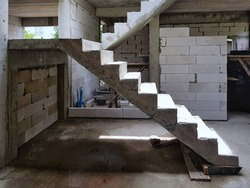 Reinforced concrete stair, reinforced concrete structure and light weight block wall in building construction site, House construction, Construction technology.