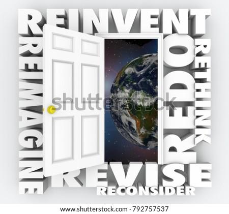 Reinvent the World Rethink Redo Revise Door Words 3d Illustration