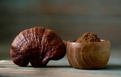 Reishi or lingzhi Mushroom and powder on an old wooden background.