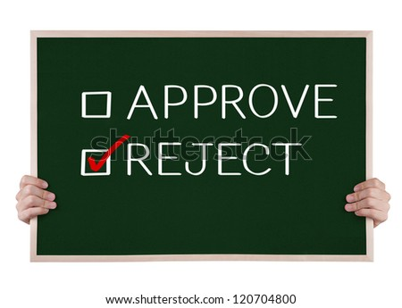 reject selected on blackboard with hands