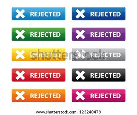 Rejected buttons. Vector available.