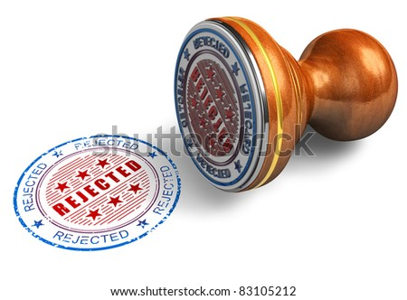 Rejected stamp isolated on white background