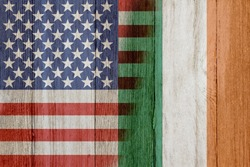 Relationship between the USA and Ireland, The flags of USA and Ireland merged on weathered wood