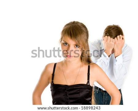 relationship difficulties: young couple having a conflict