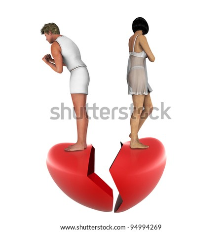 relationship difficulties: young couple having a fight. Back to back on the breackheart