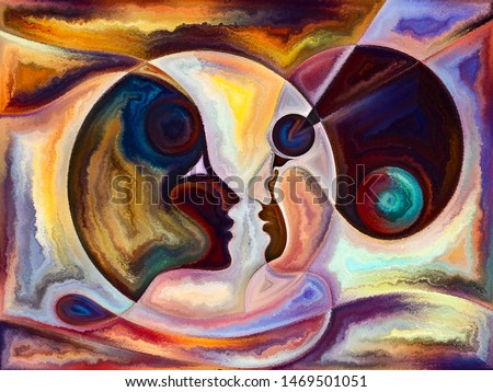 Relationships in Texture series. Abstract arrangement of people faces,  colors, organic textures, flowing curves suitable for projects on inner world, love, relationships, soul and Nature
