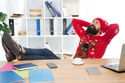 Relax and rest concept. Finally january. Man bearded manager in office. Business career. Start own business. Business man relaxed successful guy celebrate christmas. Winter holidays. Celebrate xmas.