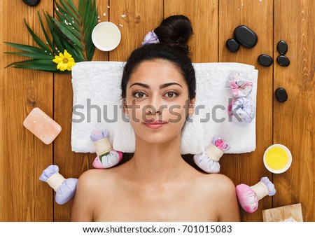Portrait of woman patient in ayurveda spa wellness center