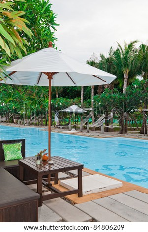 relax corner beside swimming pool