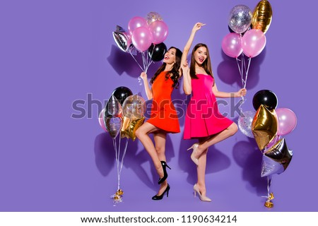 Relax, rest, careless, carefree, dream, dreamy concept. Full length, legs, body, size portrait of dance woman on sharp, pumps, stilettos close eyes raised hands up isolated on shine purple background #1190634214