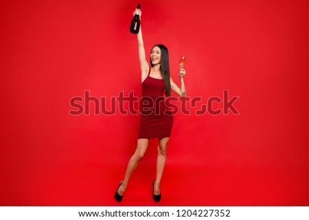 Relax rest chill full legs body size portrait of lady in her formal wear on black sharp pumps stilettos with cocktail beverage in hand stand she isolated on red background close eyes raised hands up #1204227352