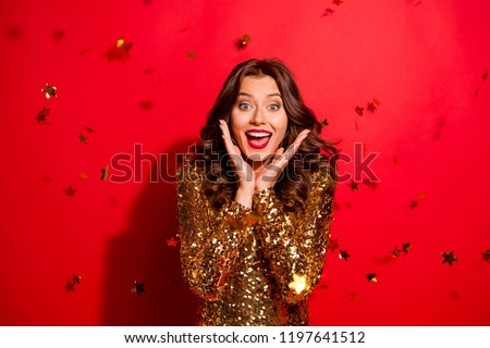 Relax, rest concept. Stunning, adorable, good-looking lady with modern curly, wave hairdo hold palm near face, open mouth, big eyes isolated on bright red background