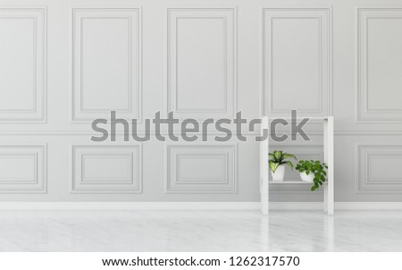 Relax space with background.classic wall and wood floor in store room. -3d rendering